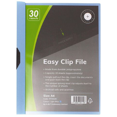 Office Supply Co Easy Clip File 30 Capacity Light Blue A4
