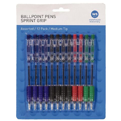 WS Ball Pen Sprint Grip Assorted 12 Pack