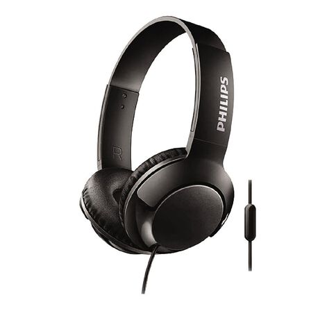 Philips On Ear Bass+ Headphones with Mic Black SHL3075