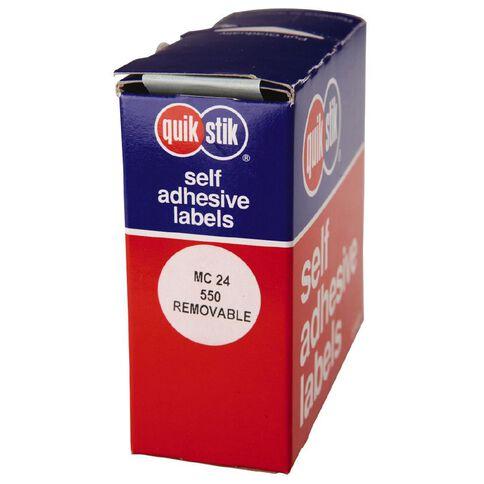 Quik Stik Labels Dots Mc24 550 Pack White