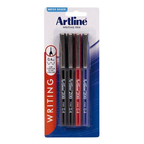 Artline 200 Pen 0.4mm 4 Pack Mixed Assortment
