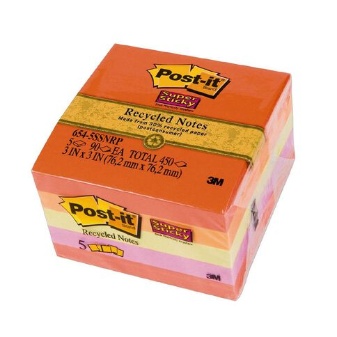 Post-It Recycled Super Sticky Notes 76mm x 76mm Bali Collection