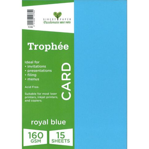 Trophee Card 160gsm 15 Pack Royal Royal A4