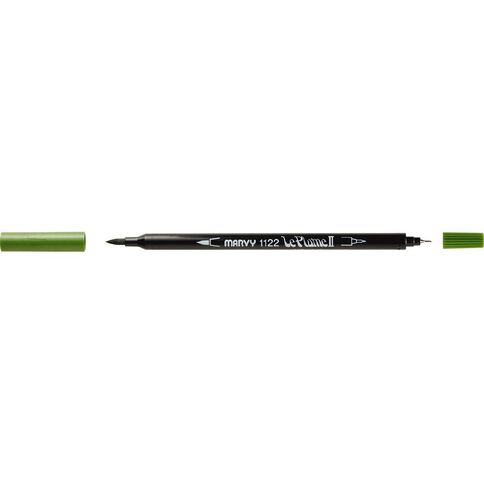 MARVY Le Plume II Dual Tip Marker Olive Green