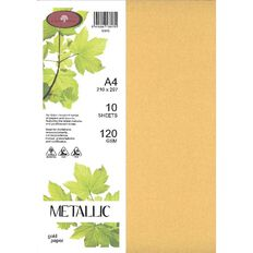 Direct Paper Metallic Paper 120gsm 10 Pack Gold A4