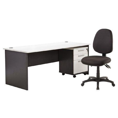 Jasper J Emerge 1800 Desk + Mobile & Chair Bundle White/Ironstone