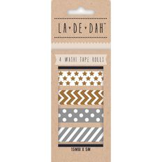 La De Dah Gold and Silver Washi Tape 4 Pack