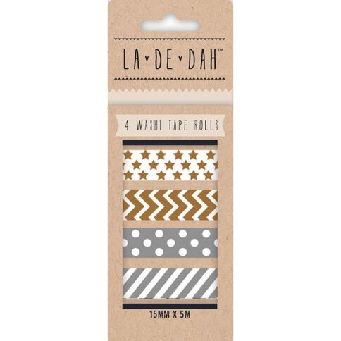 La De Dah Washi Tape 4 Pack Silver