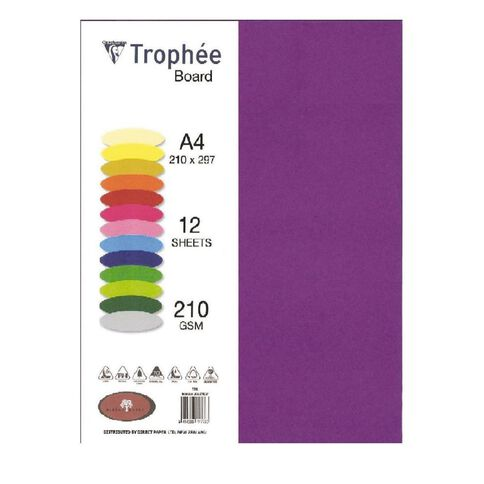 Trophee Board 210gsm 12 Pack Intensive Lilac Purple A4