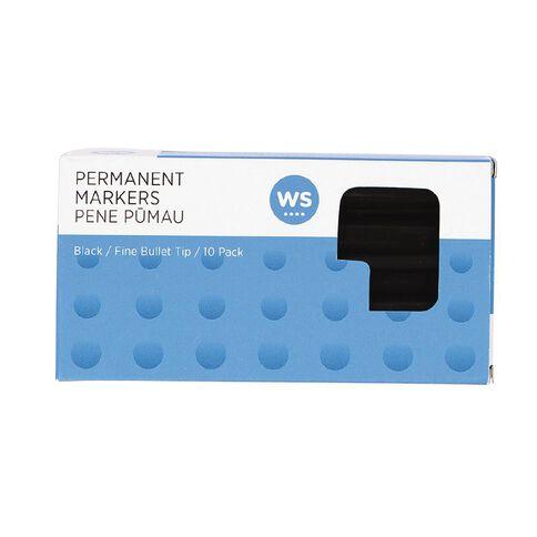 WS Permanent Marker Fine Black 10 Pack