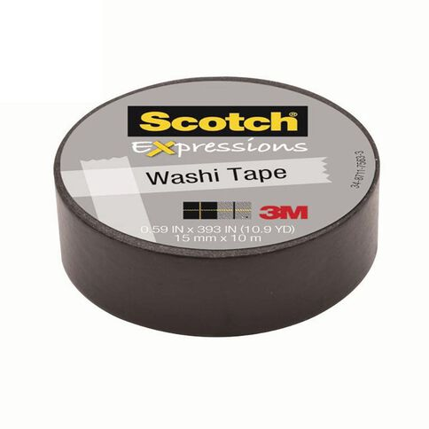 Scotch Washi Craft Tape 15mm x 10m Black