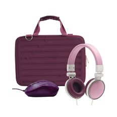 14inch  Hard Shell Bundle with Mouse and Headphones Berry