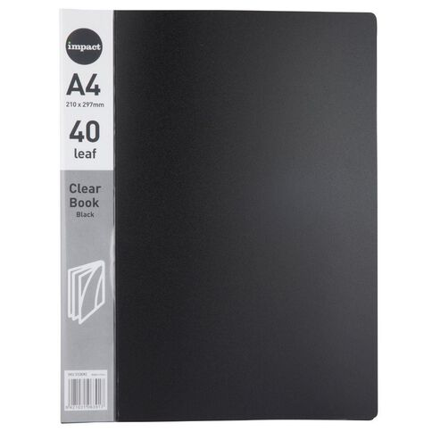 WS Clear Book 40 Leaf Black A4