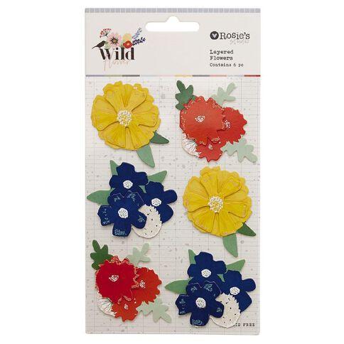 Rosie's Studio Wildflower Layered Flowers 6 Piece