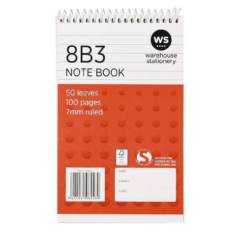 WS Exercise Book 8B3 7mm Ruled 50 Leaf Wiro Red