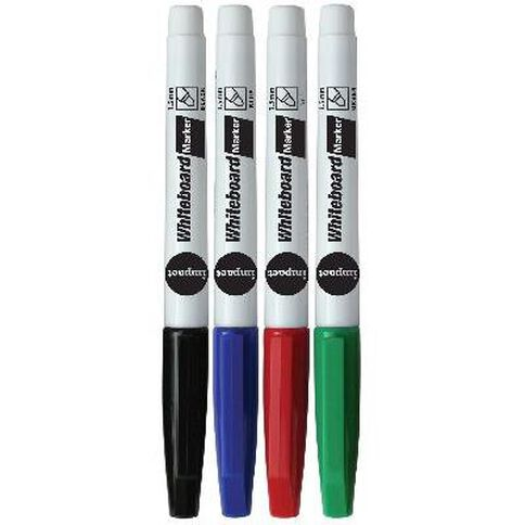 WS Whiteboard Markers Fine 4 Pack Assorted