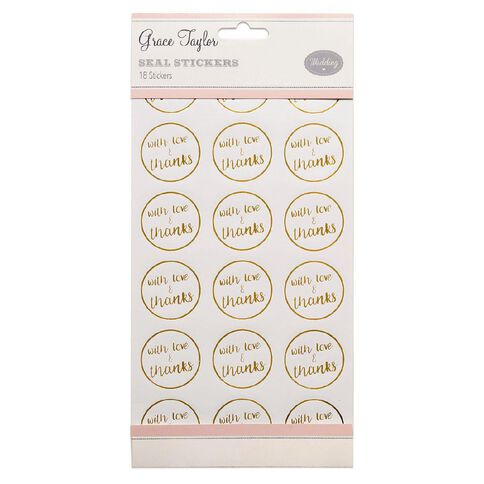 Grace Taylor Wedding Seals 18 Pack White/Gold