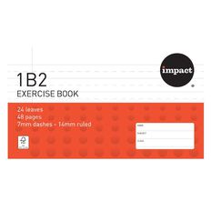 Impact Exercise Book 1B2 7mm/14mm Ruled 24 leaf Red