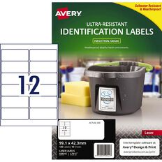 Avery Ultra-Resistant Outdoor Labels White 120 Labels