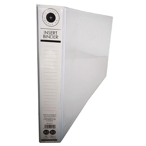 Office Supply Co Landscape 38mm Ringbinder White A3