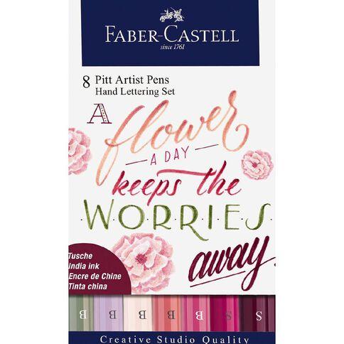Faber-Castell Pitt Artist Pens Hand Lettering Set Flower A Day 8 Pack