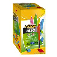 Bic Pen Clic Medium 50 Pack Blue