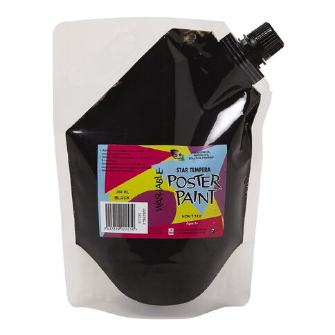 Fivestar Tempera Poster Paint Pouch Black 750ml Black 750ml