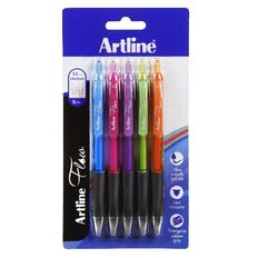 Artline Flow Retractable Pen Brights 5 Pack Assorted