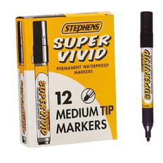 Stephens Marker Super Vivid Bullet 12 Pack Black