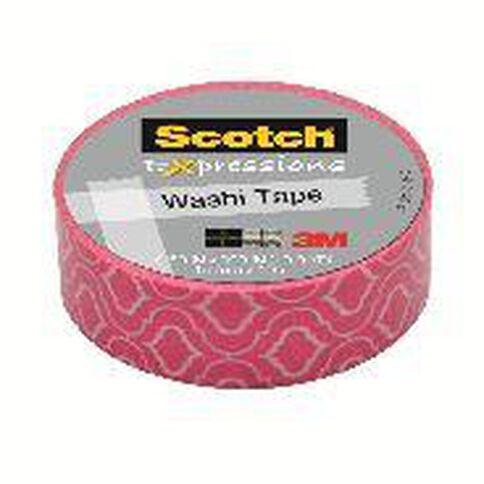 Scotch Washi Craft Tape 15mm x 10m Quatrefoil Pink