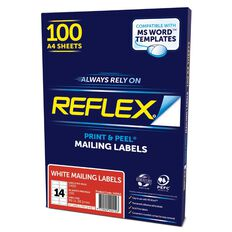 Reflex Mailing Labels 14 Per Sheet 100 Pack White A4