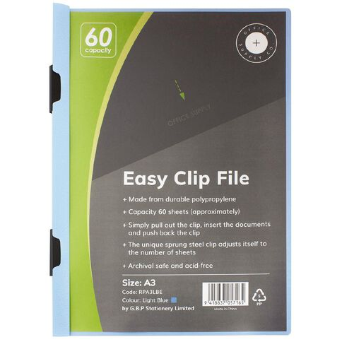 Office Supply Co Easy Clip File Portrait 60 Capacity Light Blue A3
