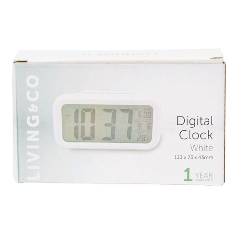 Living & Co Digital Alarm Clock Plastic White 13.3 x 7.3cm