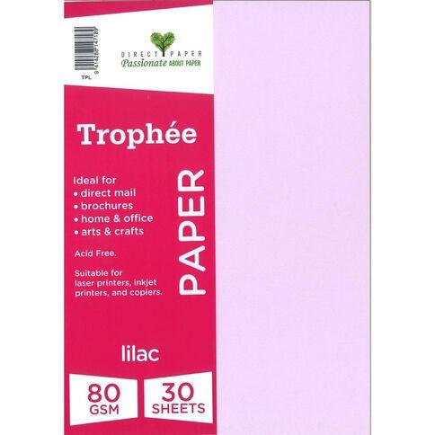 Trophee Paper 80gsm 30 Pack Lilac Purple A4