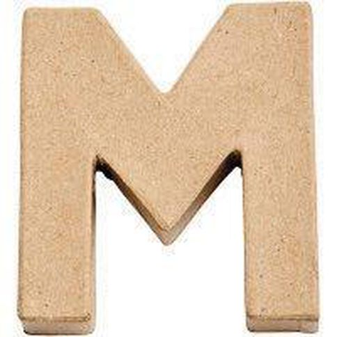 Paper Mache Alphabet Small Symbol M 10cm Brown