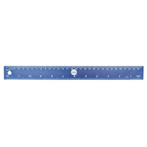 Impact Ruler Aluminum 30cm Blue