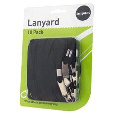 Impact Lanyard Wtih Safety Breakaway Clip 10 Pack Black