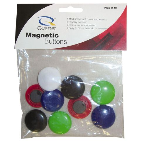 Quartet Magnetic Buttons 30mm 10 Pack Assorted