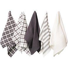 Living & Co Tea Towel Mix Set 5 Pack Charcoal 40cm x 65cm