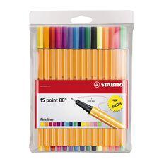 Stabilo Pen Point 88 Wallet Neon 15 Pack Multi-Coloured