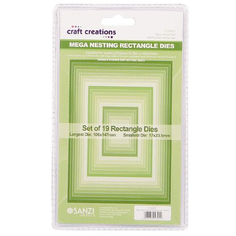 Craft Creations Nesting Dies Rectangle 19 Piece