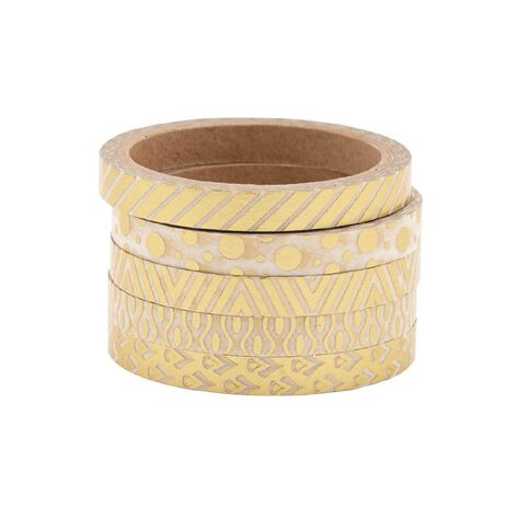 Uniti Washi Tape Thin 5 Pack Gold