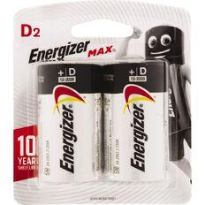 Energizer Max Alkaline Batteries D 2 Pack