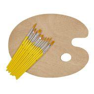 Uniti Wooden Palette & Brush Set 12pc Natural