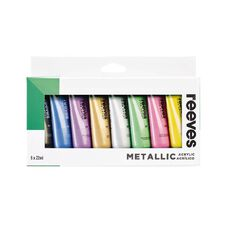 Reeves Acrylic Set 22ml Metallic 8 Pack