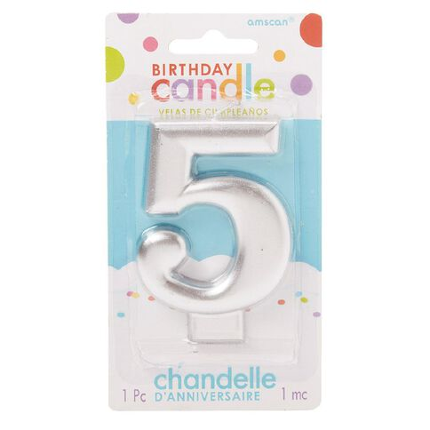 Candle Metallic Numeral #5 Silver
