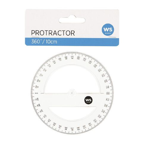 WS Protractor 360 10cm Clear