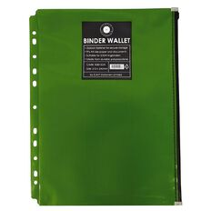Office Supply Co Binder Zip Lock Wallets Multi Hole Spine Green A4