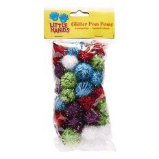 Little Hands Glitter Pom Pom 50 Pack Multi-Coloured