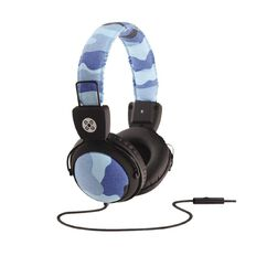 Moki Camo In-Line Mic Headphones Blue